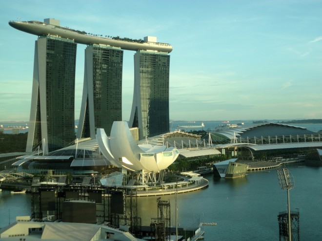 Marina Bay Sands visto do hotel Mandarin Oriental