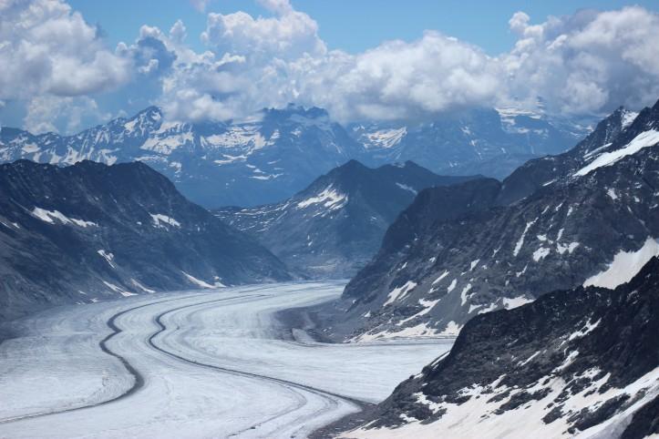 A geleria Aletsch vista do Topo da Europa