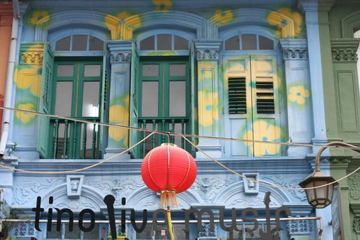 Fachada de prédio na Chinatown de Cingapura